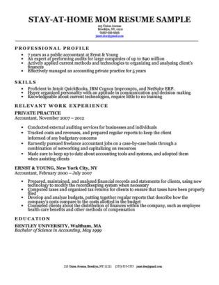 Stay At Home Mom Resume Sample With Work Gaps