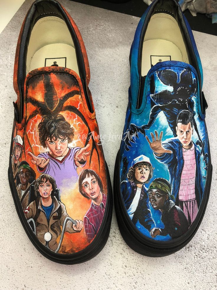 Custom Painted Stranger Things Inspired Vans shoes sneakers.Available Immediately In A UK Adults 5/US Mens 6/US Women's 7.5 Only
