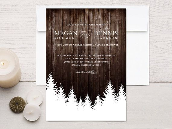 Perfect!! Winter Wedding Invitations Rustic Wood by rockpaperdove on Etsy, $40.00