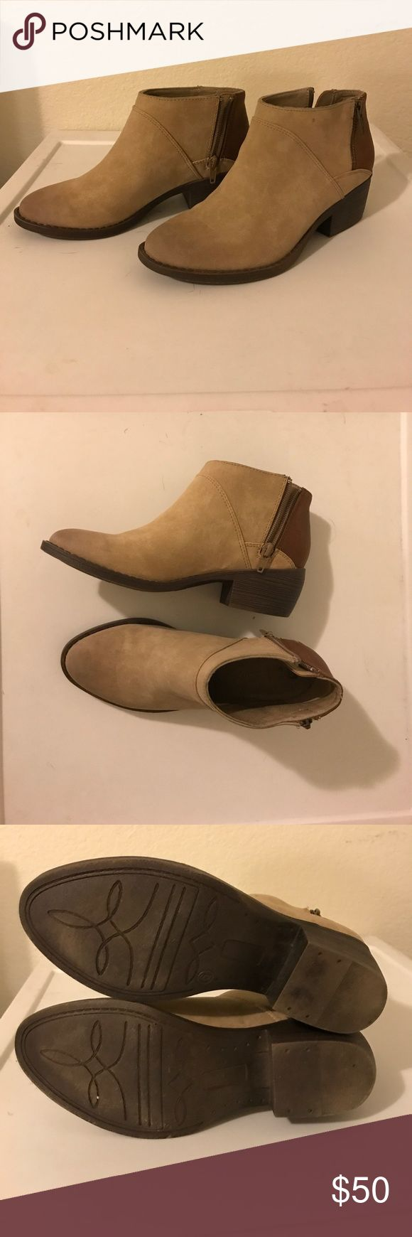 BC Footwear Ankle Booties Tan + Brown ankle boots faux leather, lightly worn, selling because they fit more like a 6.5 than a 6 a great low heel ankle boot that goes with everything for the fall season! BC Footwear Shoes Ankle Boots & Booties