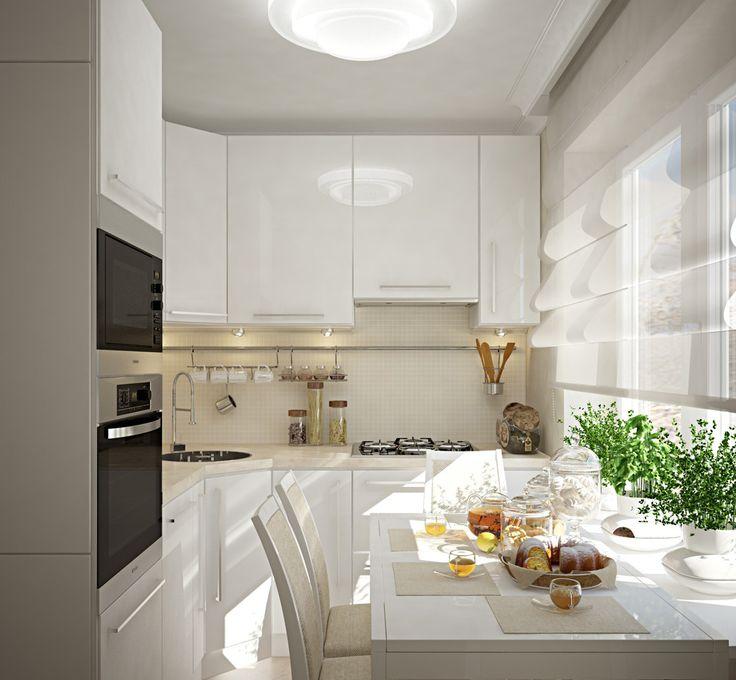 Кухня/столовая в  цветах:   Белый, Светло-серый, Темно-зеленый.  Кухня/столовая в  стиле:   Минимализм.