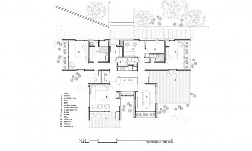 T-shaped house plan central kitchen interior