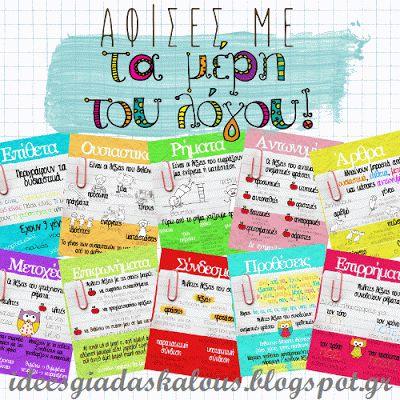 Ιδεες για δασκαλους: Αφίσες με τα μέρη του λόγου