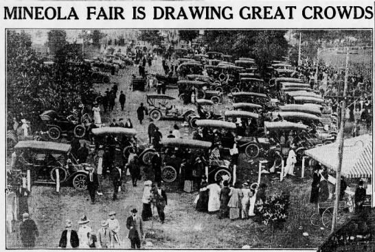 """September 26, 1913 -- Mineola -- Photo in September 26, 1913 edition of the Brooklyn Daily Eagle.  """"Mineola Fair Is Drawing Great Crowds"""" """"Thousands of people have come from all parts of Long Island in automobiles.  A portion of the parking space is shown above, with machines of almost every make"""""""