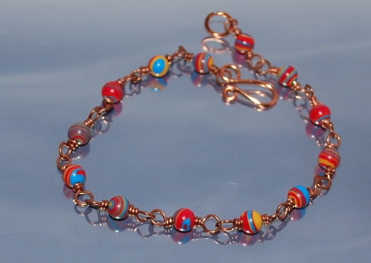 Delicate Bracelet With Copper And Colorfull Elements by IacobJewelry on Etsy