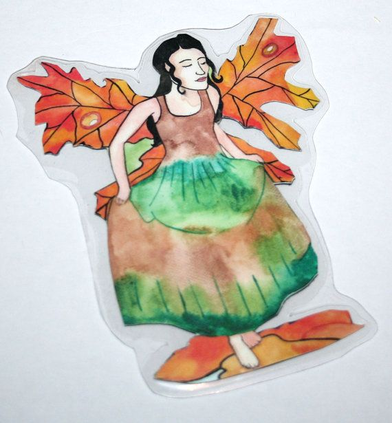 Autumn Fairy Magnet After the Rain Fantasy Magnet Refrigerator Magnet Fairy and Fantasy Art Maple leaves Autumn Wings Fairy Magnet Art