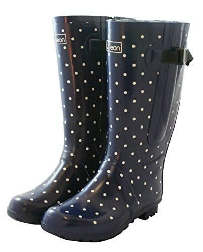 Extra Wide Calf Rain Boots - Navy with White Spots up to 21 Inch Calf