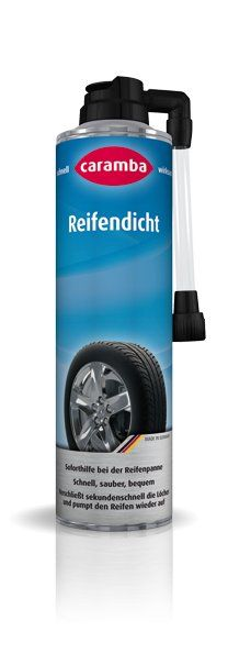 Reifendicht Der praktische Helfer bei Reifenpannen. Soforthilfe bei der Reifenpanne Verschließt sekundenschnell die Löcher und pumpt den Reifen wieder auf. Schnell, sauber, bequem! Caramba Reifendicht ist das Reserve-Rad aus der Spraydose.