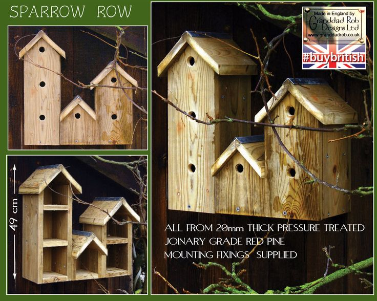 Sparrow Row Bird Box Sparrows are communal nesters, hence the nesting village design of Sparrow Row. Unlike older houses most modern builds are not conducive to having birds take up tenure under the eaves. House sparrows in particular are adversely effected with breeding numbers diminishing. Fix the nests high under the eaves, ideally on a north east aspect to avoid the direct sun.