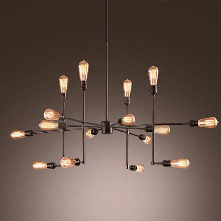 Industrial vintage metal large chandelier with 16 lights litfad gorgeous splendid ceiling light pendant light black painted finish