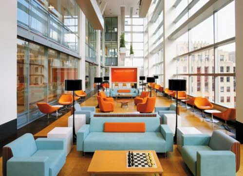 """good examples of multiple conversation and eating areas (table and two chairs near windows and conversation """"u"""" area"""