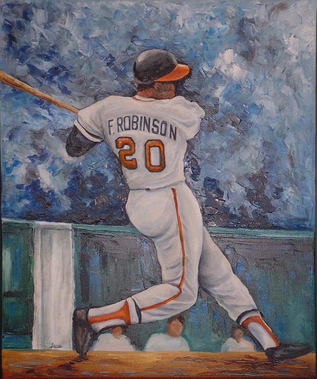 Hall of Famer Frank Robinson during his  days with the Baltimore Orioles.  http://www.art-and-sports-paintings.com/baseball.html