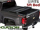 Gator Tri-Fold Tonneau Truck Bed Cover  Chevy Colorado GMC Canyon  2015-2017 5 ft Bed 59112   Drive down the road safely with the cover securely fastened The support bows keep the cover supported in case of heavy rain, hail or snow A quality textured finish on the tear resistant vinyl adds a...