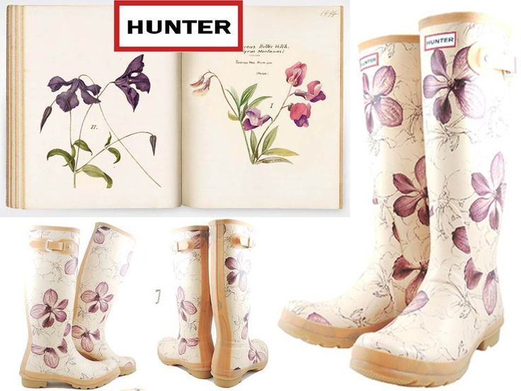 Hunter Limited Royal Horticultural Society Rubber Rain Garden Boots Biscuit Cute #HUNTER #Rainboots #Casual