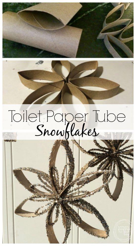 Toilet Paper Tube Snowflake Ornaments Snowflake Ornaments Diy Paper Christmas Ornaments Toilet Paper Tube
