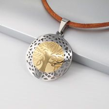 Silver Gold Tree Of Life Pendant Mens Womens Brown Leather Tribal Necklace NEW