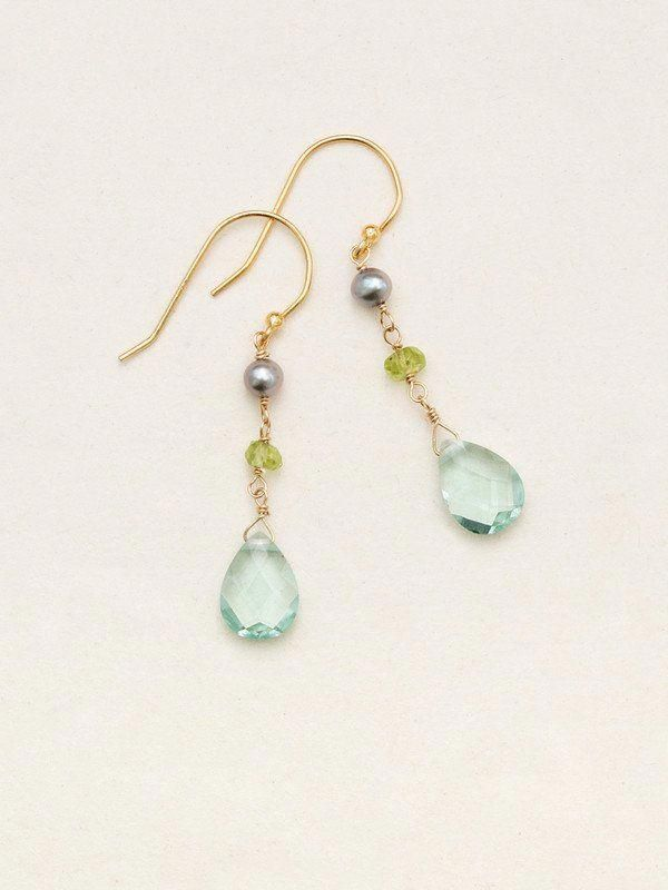 Handmade Pearl Turquoise Faceted Gemstone Gold Plated Earrings