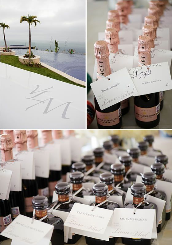 Small Bottles Of Champagne And Tequila Did Double Duty As Both Escort Cards Wedding Unique FavorsUnique