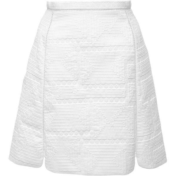 Giambattista Valli Geometric Jacquard Split Skirt (29.420 ARS) ❤ liked on Polyvore featuring skirts, white, high waisted a line skirt, high waisted knee length skirt, a-line skirt, high-waisted skirt and white high waisted skirt