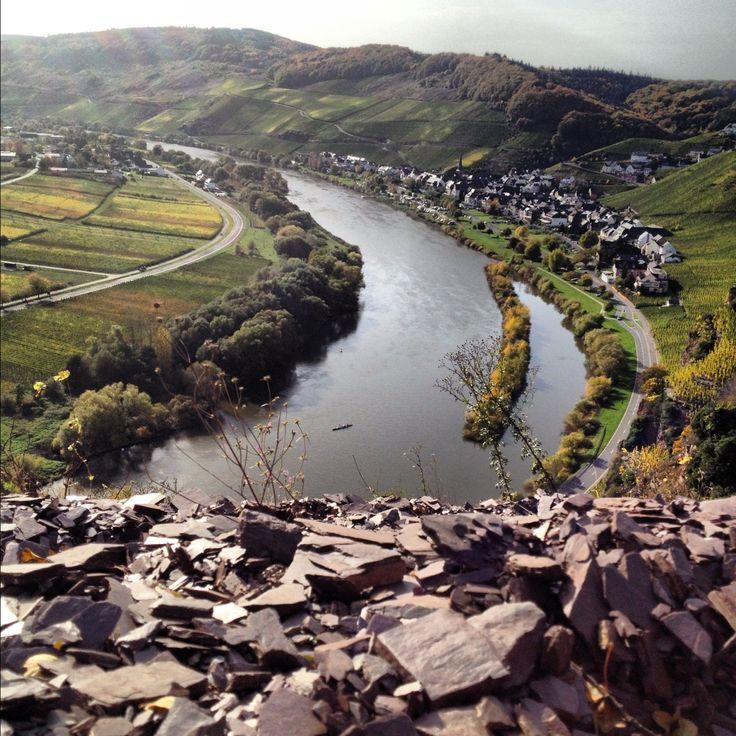 The red slate of the Ürziger Würzgarten vineyard, Mosel River Valley, Germany.