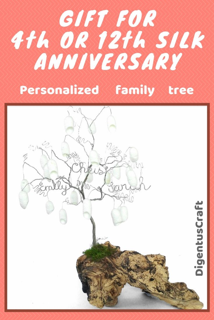 12 Years 4 Silk Wedding Anniversary Personalized Family Wire Tree