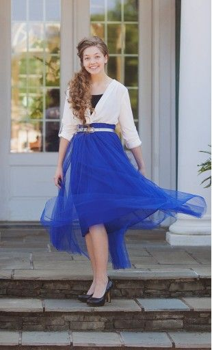 Womens three layer formal tulle maxi skirt with matching tulle ribbon belt in royal blue. #tulleskirt