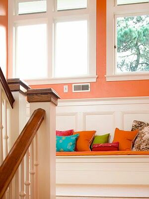 Window Seat Idea On Stair Landing. Sweet! But Again, Why Are The Windows