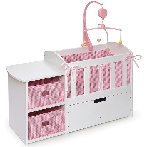 baby storage furniture doll crib with storage dresser and trundle drawer badger 10157
