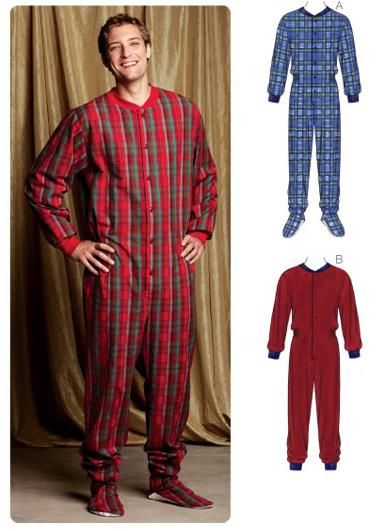 Kwik Sew All In One Men's Pajamas Pattern |  Description: Designed for woven or firm knit fabrics. Suggested Fabrics: Flannel, cotton, cotton blends, fleece, sweatshirt fleece.Loose fitting pajamas have button or snap closure on front, elastic in casing at waist, pockets in side seams, and ribbing neckband and sleeve cuffs. View A has feet with non-slip soles and stitched elastic at ankles. View B has ribbing cuffs at bottom edges of legs.Sizes: S-M-L-XL-XXL