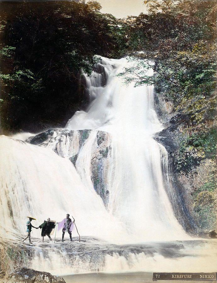 Japan Photograph - 1870 Japanese Men At Waterfall Of Nikko Japan by Historic Image