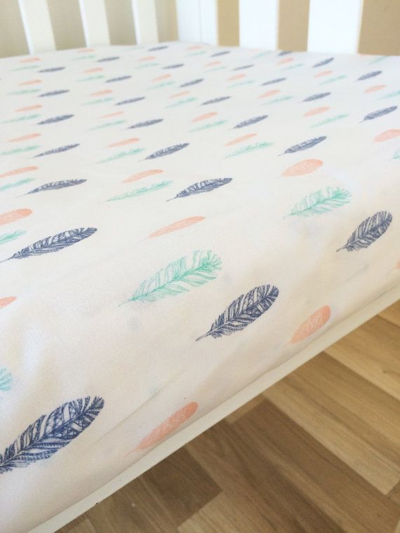 Mint, peach and navy falling feathers - modern Fitted Cot Sheet, Crib Sheet, Nursery Fitted sheet, gray