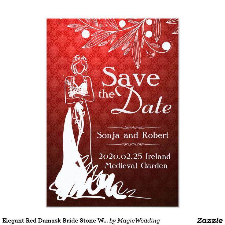 Elegant Red Damask Bride Stone Wedding Invitation