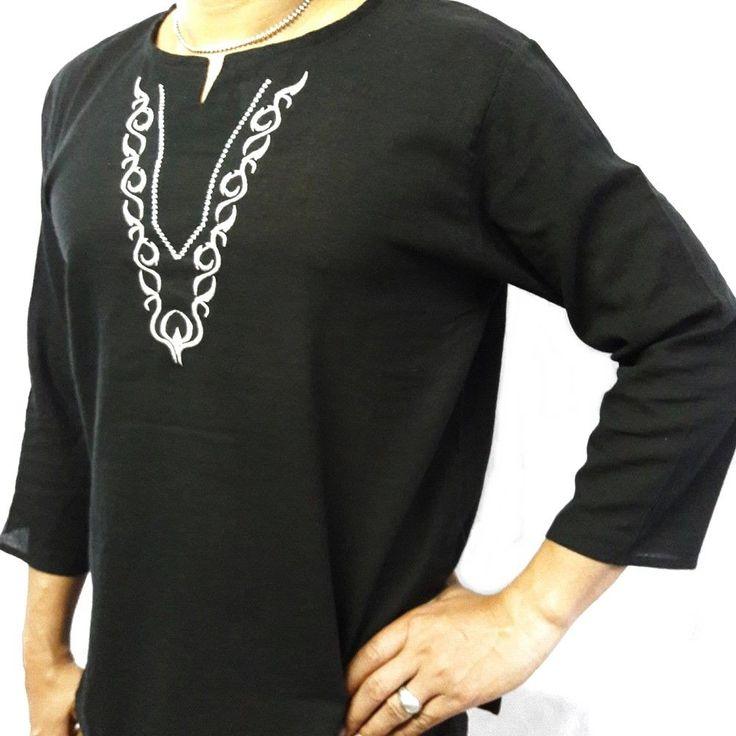 L Black Men's Summer T-Shirt 100% Cotton Thai Hippie Shirt Beach Yoga Top V-Neck #deedeeshop #VNeck