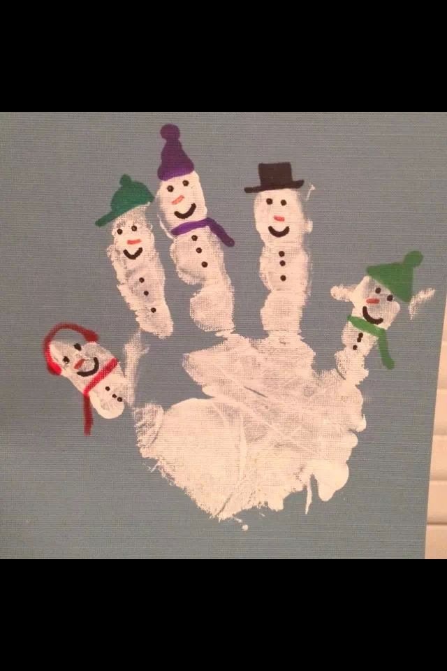 Snowman hand print with snow painted all over very lightly for whole snow scene Kids craft idea