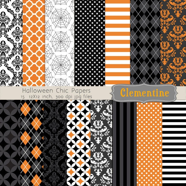 Halloween digital paper 12x12, digital scrapbooking paper, royalty free - Halloween Chic- BUY 2 GET 1 FREE.
