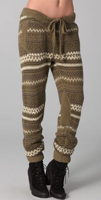 Charlotte Ronson Fair Isle Knit Pants in Green | Lyst