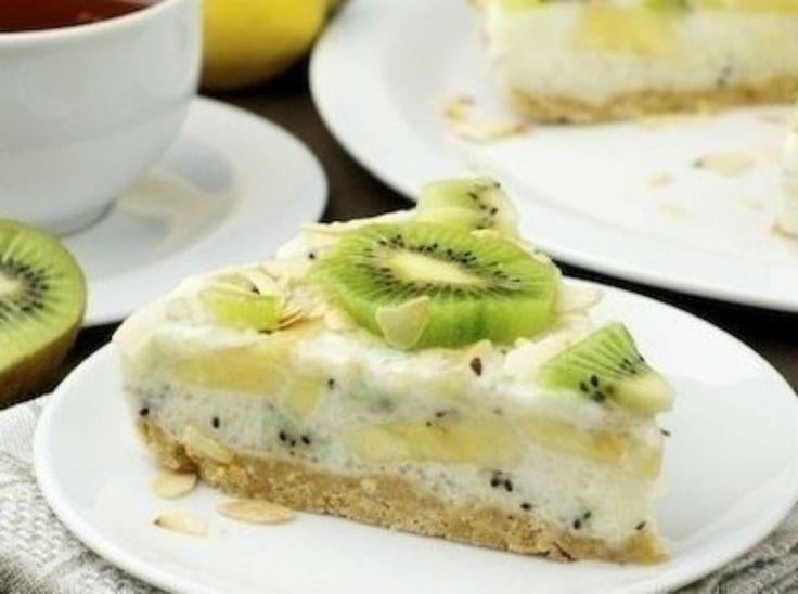 Tort de iaurt cu kiwi și banane – sărac în calorii, delicios și sănătos (fără coacere) - Gospodina