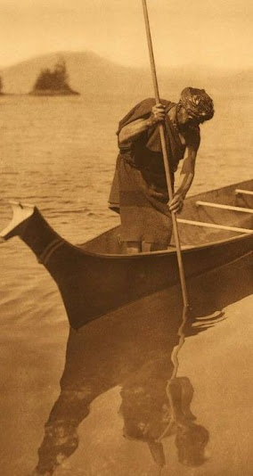 Clayoquot man spear-fishing - 1910