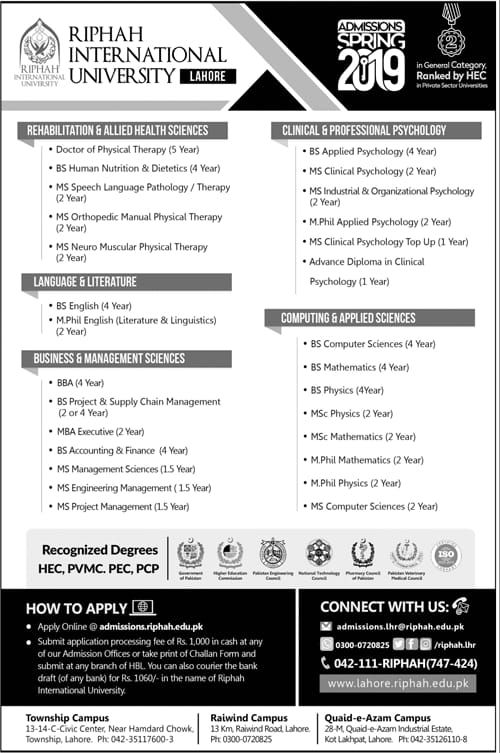 Admission open in Riphah International University Lahore For