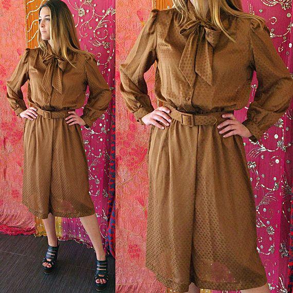 Vestido de fiesta vestido metálico Oro Ascot arco oro vestido Vintage años 70 Disco Glam Vestido de fiesta