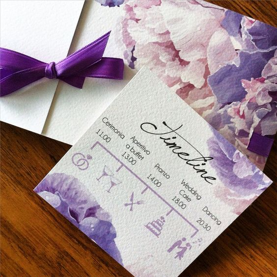 Partecipazioni di matrimonio con acquerello sui toni del glicine .. Completo di timeline! Wedding invitation, wedding stationery in purple: