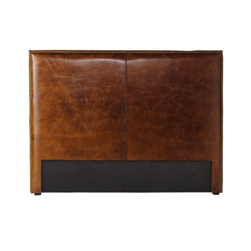 Distressed leather headboard in brown W 140cm                                                                                                                                                                                 More