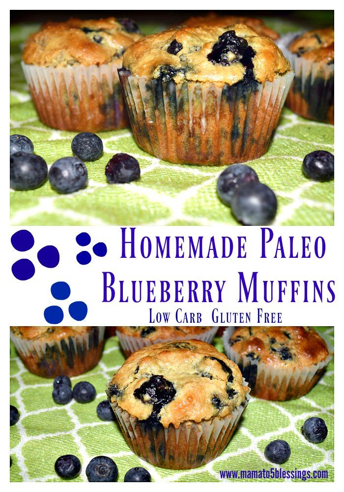 Homemade Low Carb Paleo Blueberry Muffins