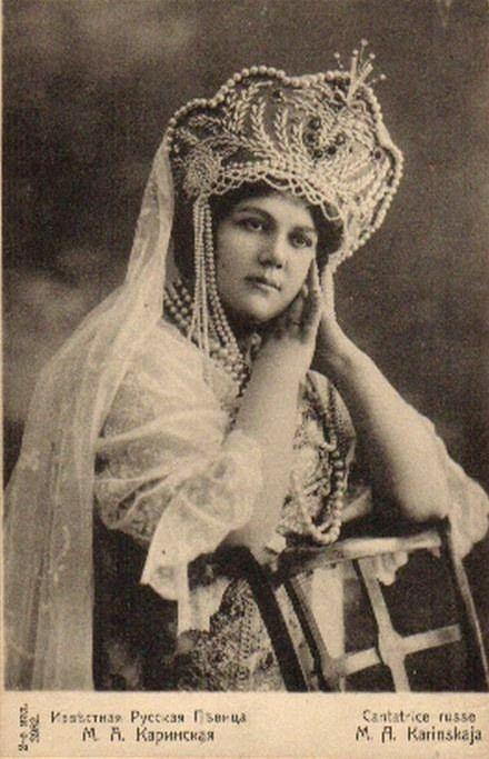 M. A. Karinskaya, a Russian singer, wearing a national costume and a kokoshnik. Old postcard, before 1917.