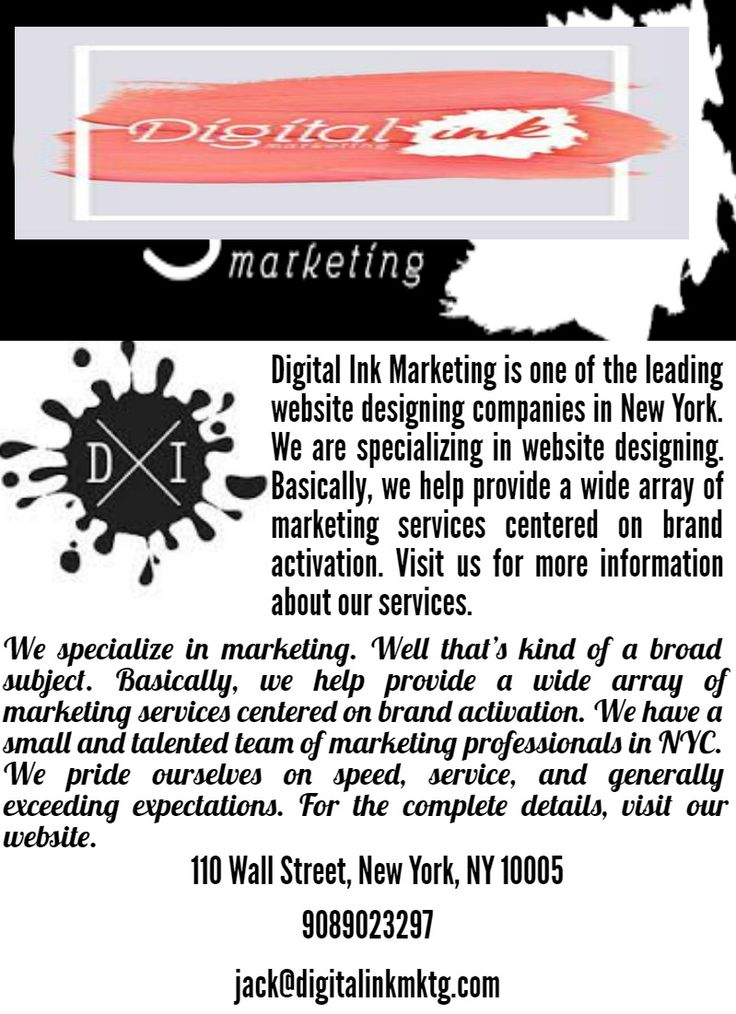 Digital Ink Marketing is one of the most successful custom web development companies in New York. We are well professional web design, web development and branding services provider. If you want our services, then don't waste your time. Explore our website and lookout our services.