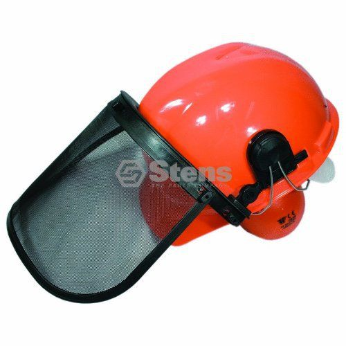 Stens Chainsaw Protective Hard Hat Safety Helmet Ear Muffs Attached Face Shield