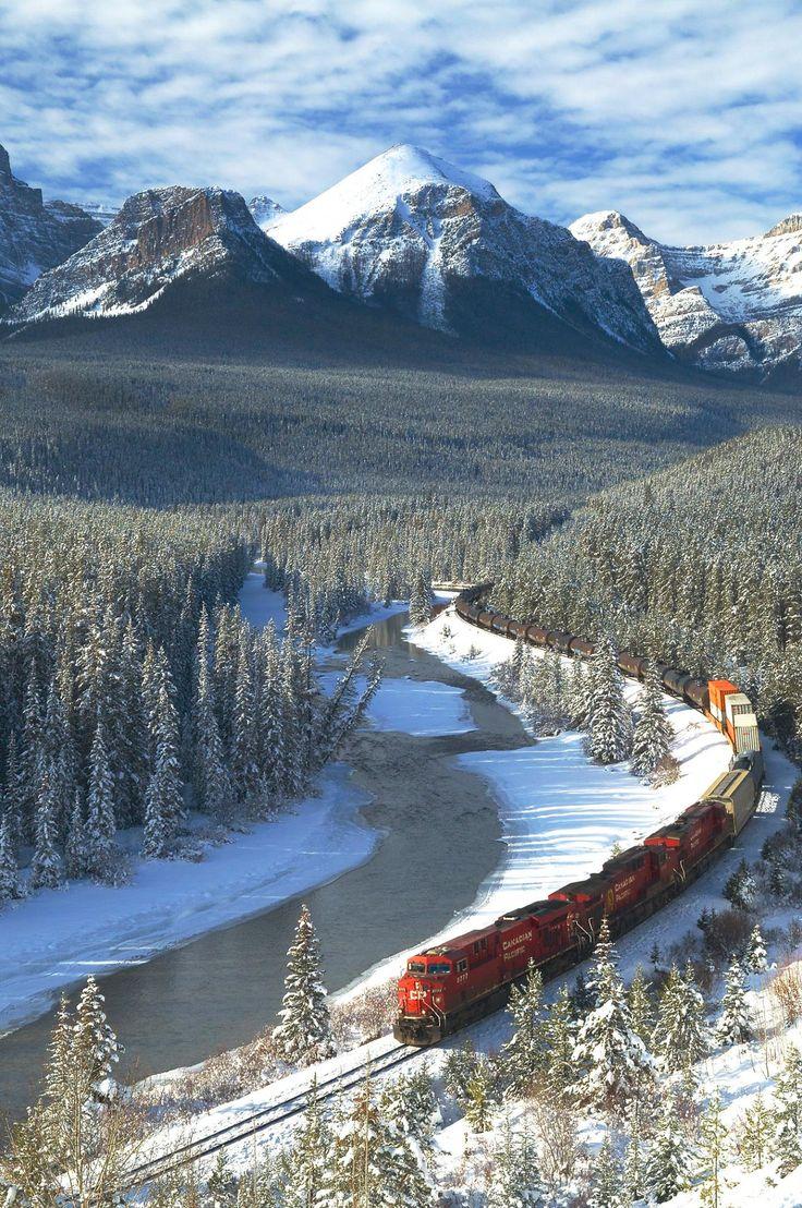 Train through Banff National Park