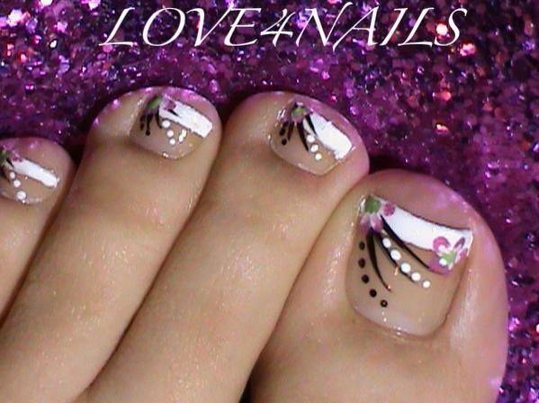 summer toes ideas nails foot flower - diseño de uñas en pies. Pedicure art designe ♛