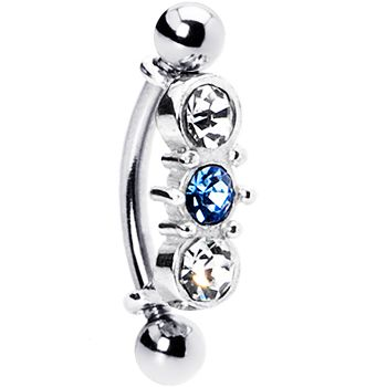 Silver 925 Top Down L. Blue Austrian Crystal Eyebrow Ring #piercing #eyebrow #bodycandy $10.99
