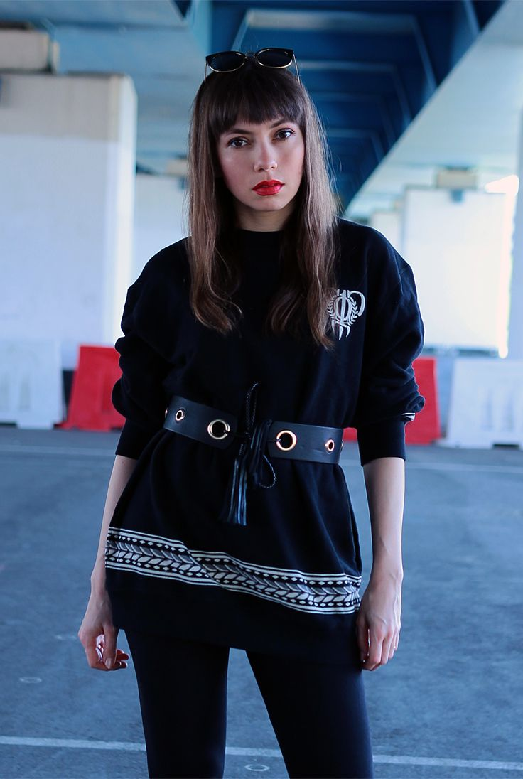 streetwear set with Crooks and Castles crewneck: http://jointyicroissanty.blogspot.com/2017/05/waist-belt-and-sweatshirt.html